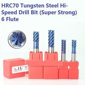 HRC70 Drill Bit Tool Set 6-Flute Tungsten Steel Super Strong 10-12mm Dia. (2pcs)