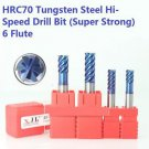 HRC70 Drill Bit Tool Set 6-Flute Tungsten Steel Super Strong 6-8mm (4pcs)
