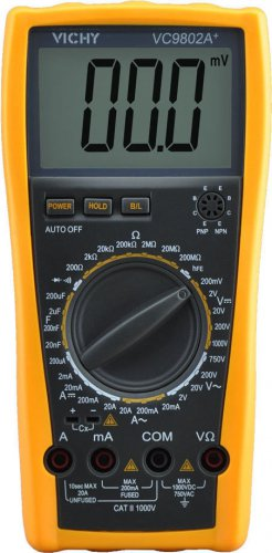 Digital Multimeter DMM VICHY VC9802A+ Voltmeter Ohm Capacitance Current Meter