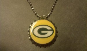 Green Bay Packer Bottle Cap Necklace