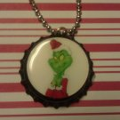 The Grinch Bottle Cap Necklace