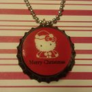 Merry Christmas Hello Kitty Bottle Cap Necklace