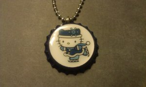 Winter Hello Kitty Bottle Cap Necklace ice skating