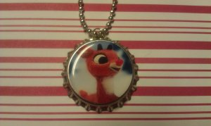 Rudolph the Red Nosed Reindeer Bottle Cap Necklace