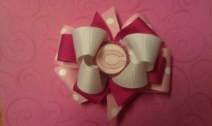 Pink Chicago Bears Boutique Hair Bow