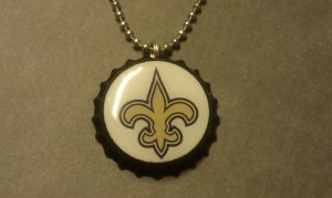 New Orleans Saints Bottle Cap Necklace fleur de lis