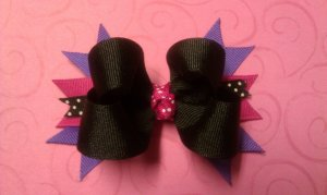 Boutique Hair Bow    black, pink and purple