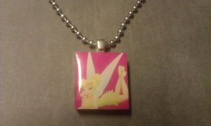 Pink Tinkerbell Scrabble Tile Necklace