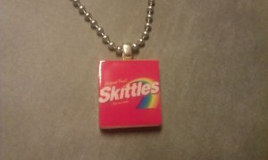 Skittles Scrabble Tile Necklace