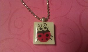 Sweet Lady Bug Scrabble Tile Necklace