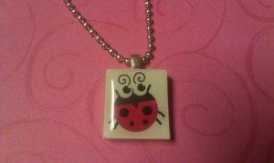 Sweet Lady Bug Scrabble Tile Necklace
