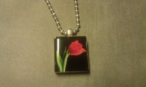 Red Tulip Scrabble Tile Necklace