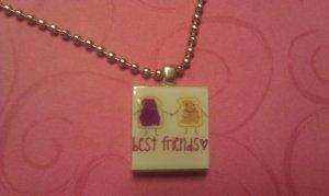 Best Friends Scrabble Tile Necklace peanut butter and jelly