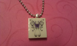 Sweet Butterfly Scrabble Tile Necklace