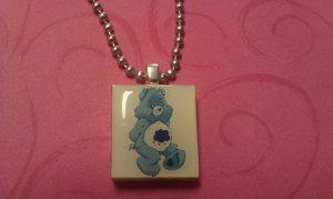 Grumpy Care Bear Scrabble Tile Necklace