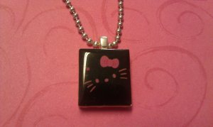Hello Kitty Scrabble Tile Necklace pink outline