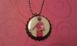 Pink Power Ranger Samurai Bottle Cap Necklace