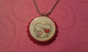 Jesus Loves Me Bottle Cap Necklace heart lamb