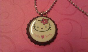 Sweet Hello Kitty Bottle Cap Necklace