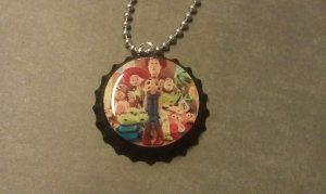 Toy Story 3 Bottle Cap Necklace Woody Buzz Jessie Bullseye