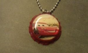 Cars Lightning McQueen White  Bottle Cap Necklace