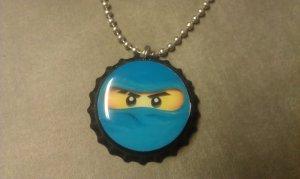 LEGO NinjaGo Bottle Cap Necklace JAY Blue ninja
