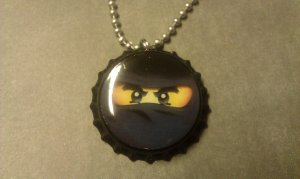 LEGO NinjaGo Bottle Cap Necklace COLE black ninja