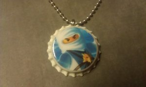 LEGO NinjaGo Bottle Cap Necklace Zane white ninja