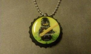 LEGO NinjaGo Bottle Cap Necklace Cole black ninja