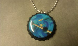 LEGO NinjaGo Bottle Cap Necklace Jay blue ninja