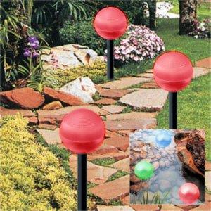 Set of 2 Red Solar Ball Light