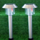 Stainless Steel Hut Solar Lights Set Of 2