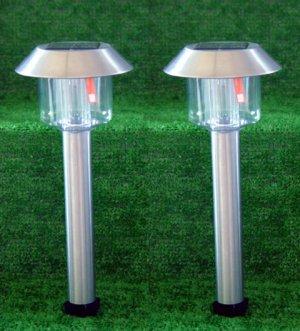 Stainless Steel Hut Solar Lights Set Of 2