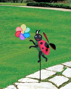 Wind Rotary Lady Bug with Flower