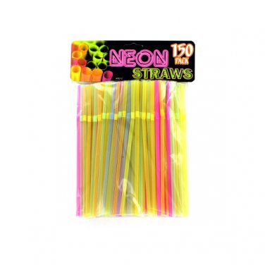 Neon Party Bending Flexible Drinking Straws (150 Count)