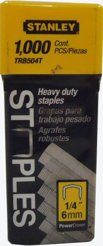 """Stanley TRB504T Heavy Duty Staples 1/4"""" 6mm 1000 Count Pack"""
