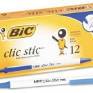 Bic Clic Stic Retractable Ball Pen, Medium Point (1.0 mm), Blue, 12 Pens