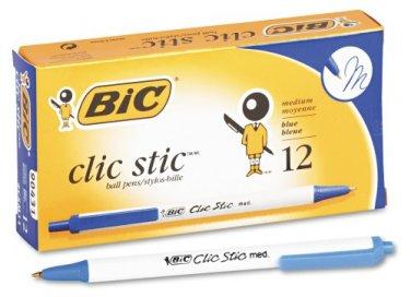 Bic Clic Stic Retractable Ball Pen, Medium Point (1.0 mm), Blue, 12 Pens