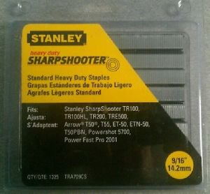 """Stanley 9/16"""" Heavy Duty Sharpshooter Staples TRA709CS - 1325 Count Pack"""