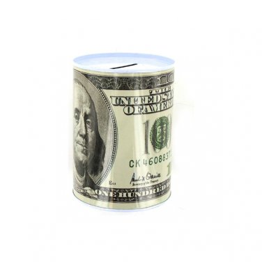 Tin Money Savings Piggy Bank with Ben Franklin $100 Bill Money Coin Saver