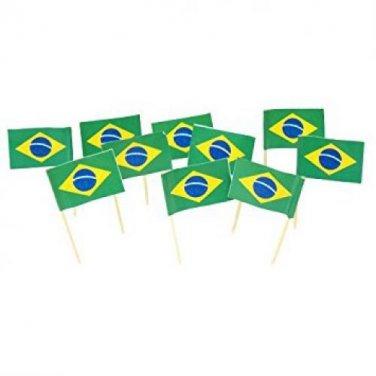 "100 Count Box 2.5"" Brazil Brazilian Flag Mini Toothpicks Picks"