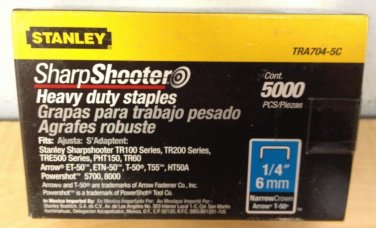 """3 Pack - Stanley TRA704-5C Sharpshooter Heavy Duty Staples 1/4"""" Narrow Crown 5000 Ct Box"""