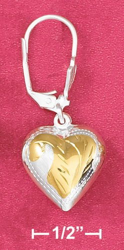 TWO-TONE HEART EARRINGS (EA-3537