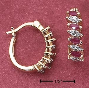 RUBY AND CZ HOOPS (EA-2445)