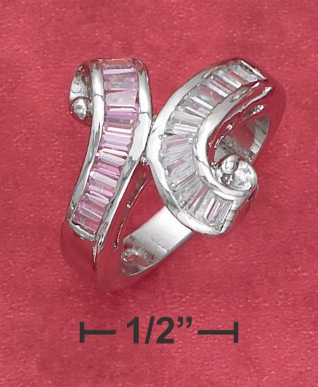 PINK & CLEAR CUBIC ZIRCONIA RING