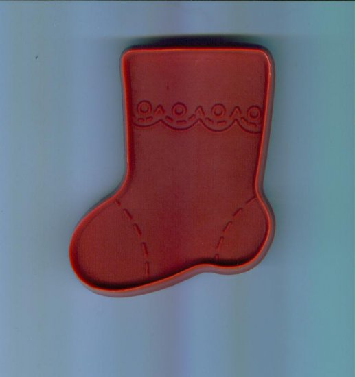 Old Vintage Plastic Hallmark Cookie Cutter  Cutters ~ Red Large Stocking Sock