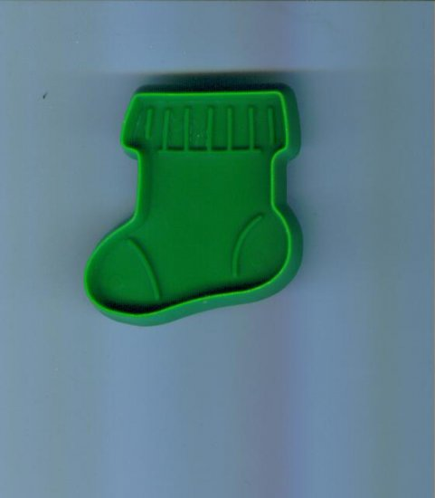 Old Vintage Plastic Hallmark Cookie Cutter Cutters ~ Small Green Stocking Sock