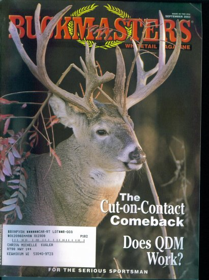 Buckmasters Whitetail Magazine September 2003 Gently Read Copy Back Issue