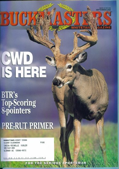 Buckmasters Whitetail Magazine September 2002 Gently Read Copy Back Issue