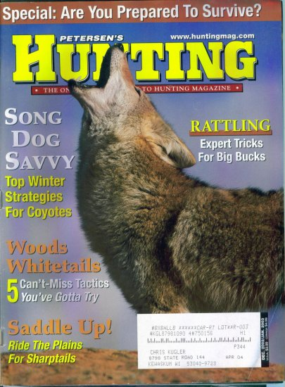 Petersen's Hunting Magazine December 2002 January 2003 Gently Read Copy Back Issue